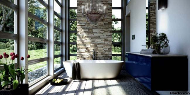 Modern bathroom designs with a view of nature