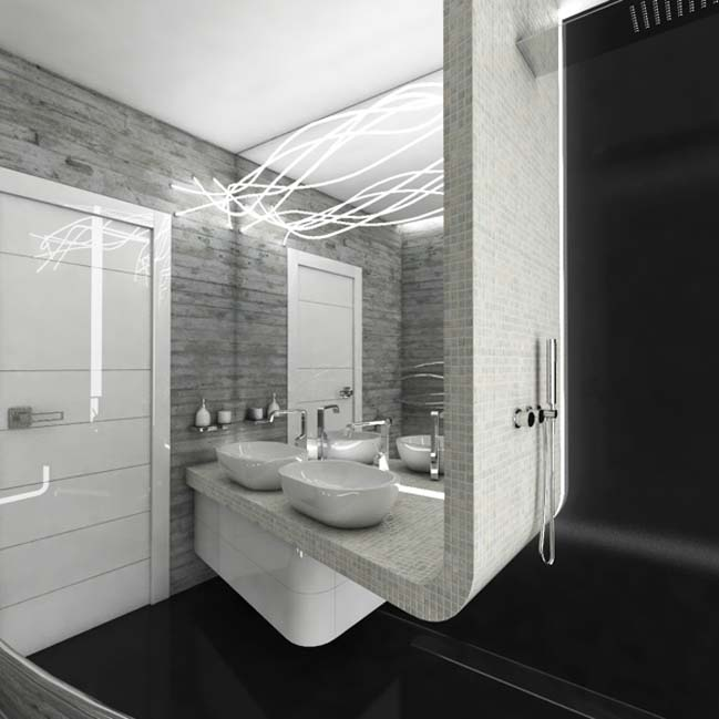 Modern bathroom with white black and gray color