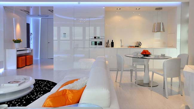 Contemporary apartment with impressive LED lights