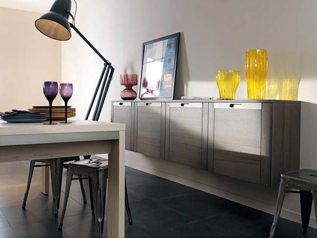 The elegance kitchen design with wood and inox
