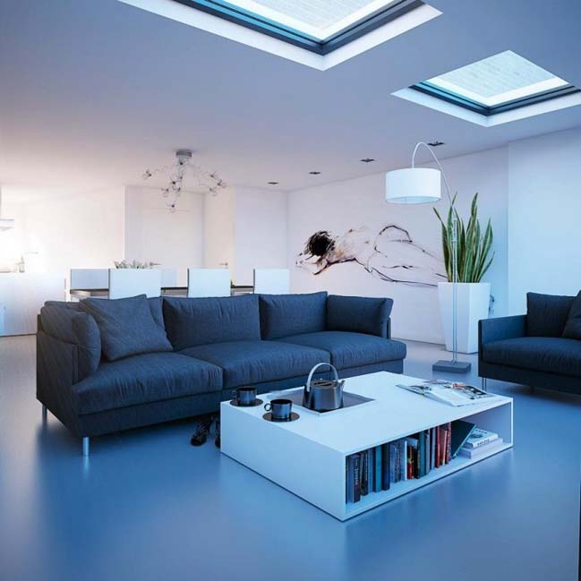 The beautiful living rooms with skylight