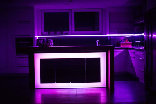 Kitchen design with amazing LED light