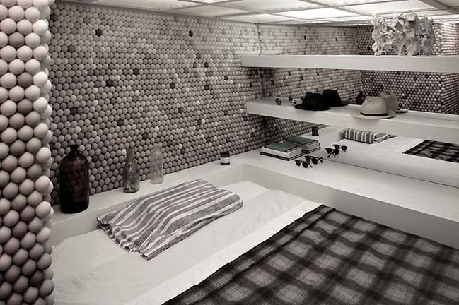 Unique bedroom design with ping-pong balls