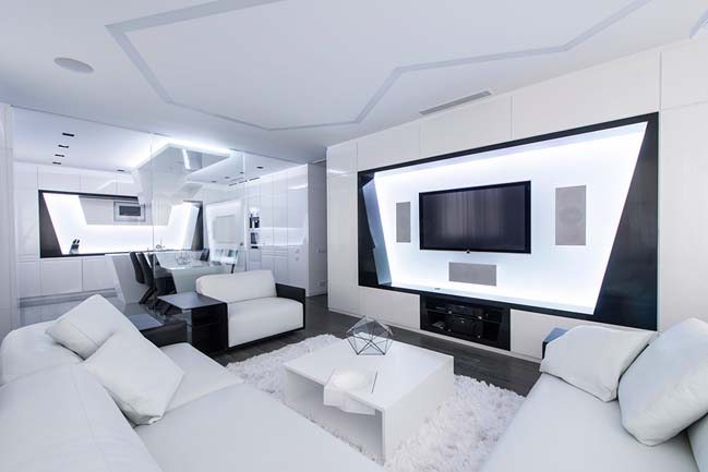 Futuristic apartment in moscow for Interior house designs black and white