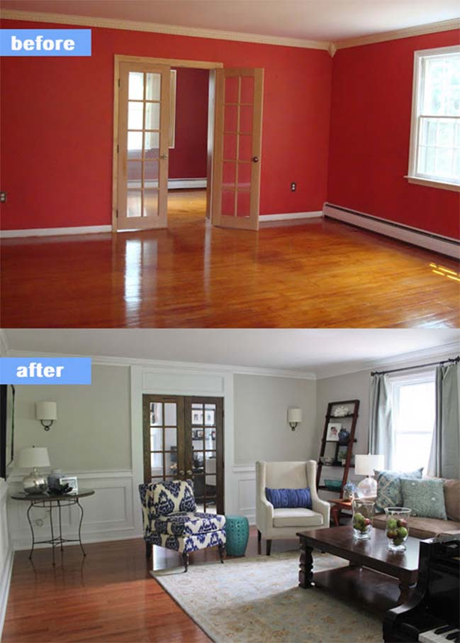 15 before and after living room designs - Living room renovation before and after ...
