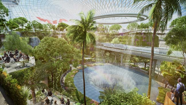 Amazing expansion architecutre of Changi Airport in Singapore