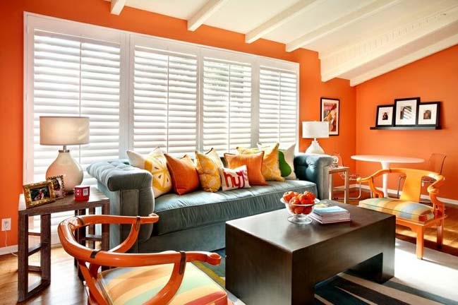15 living rooms with white and orange colors