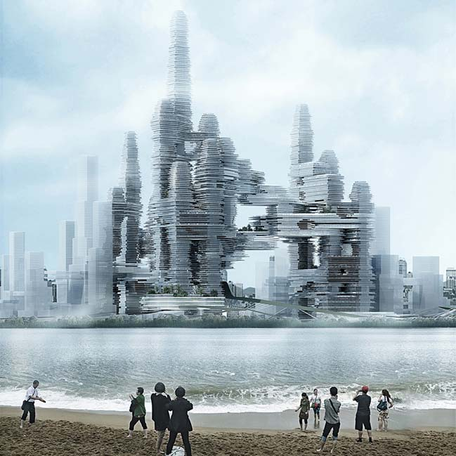 Futuristic architecture of Bay Super City in Shenzhen