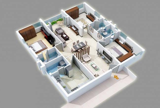 17 three bedroom house floor plans for House plan design 3d 3 room