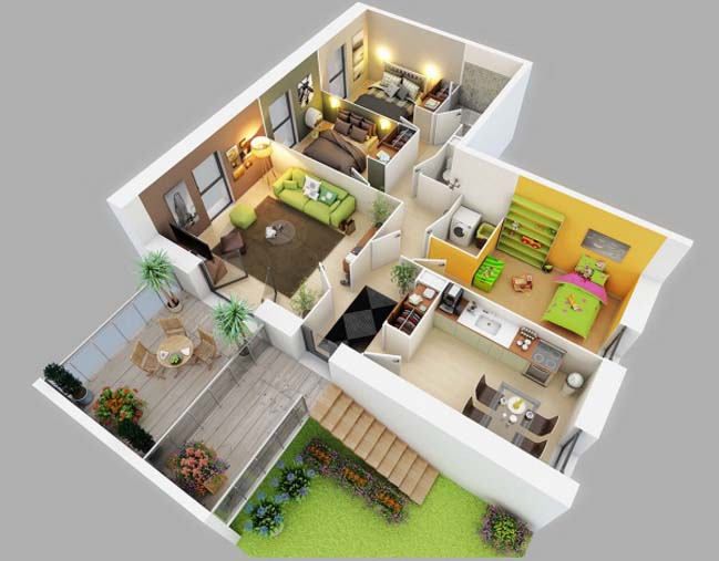 17 three bedroom house floor plans for Small 3 room house plans