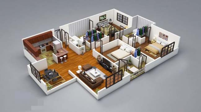 17 three bedroom house floor plans for Three bedroom home designs