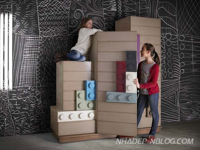 Creative bedroom design inspired by LEGO