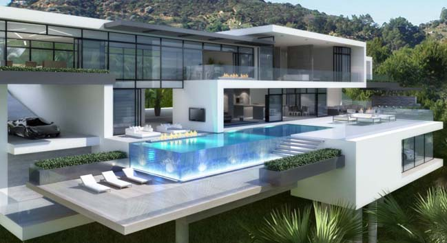 Two luxury and modern villas in los angeles for Homes with big garages for sale
