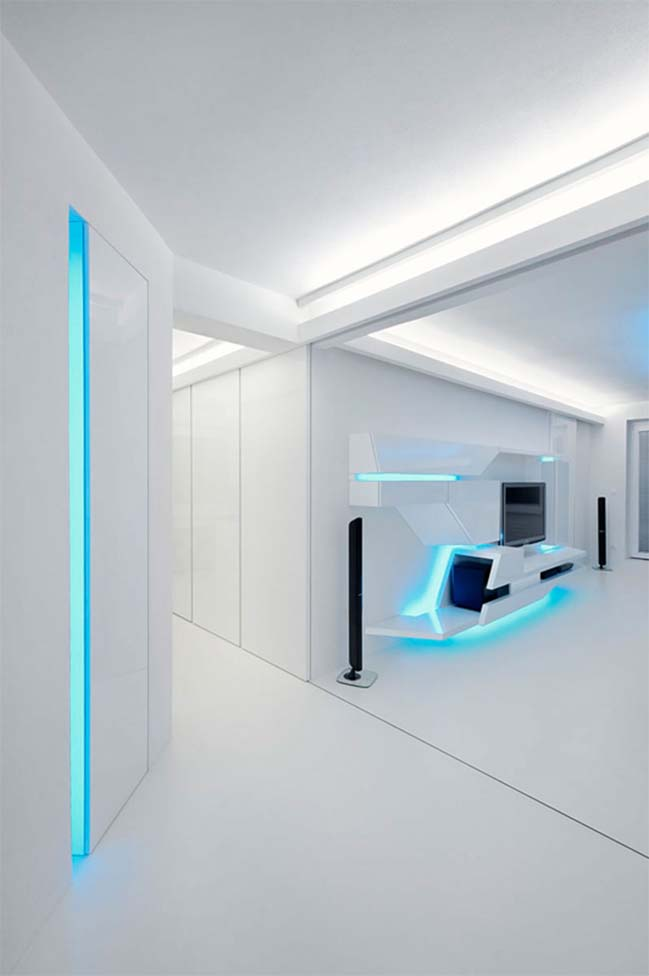 White Apartment with futuristic design