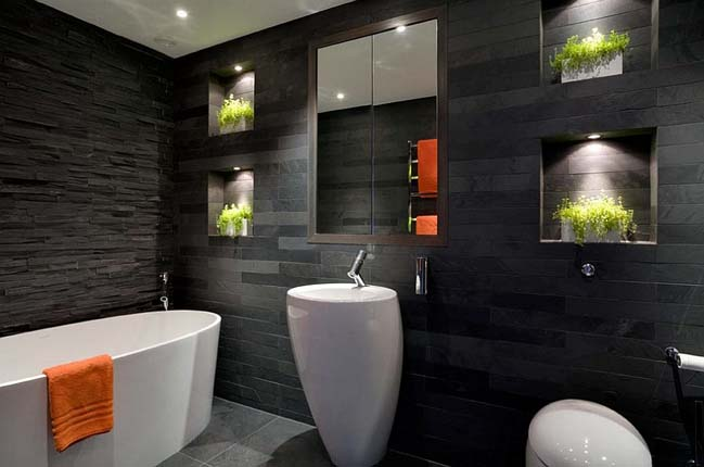 Red And Black Bathroom Design Ideas ~ Amazing black bathroom designs