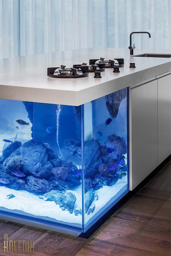 Kitchen design included an aquarium