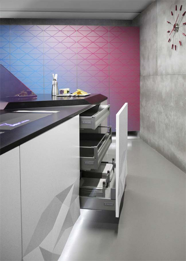 Artica: kitchen design with 3D surface