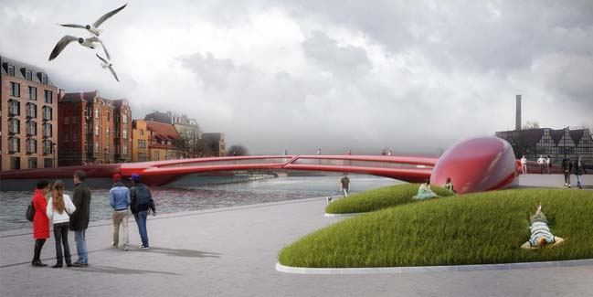 Red Hot: Pedestrian bridge in Poland
