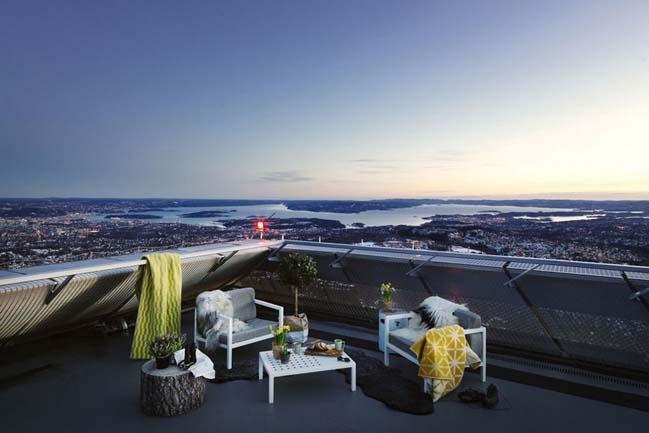 Glass walled penthouse on top of Holmenkollen ski jump