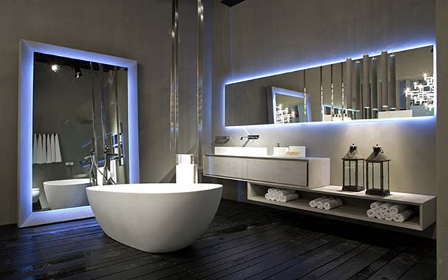 Rifra luxury modern bathroom designs with light effect for Luxury bathroom designs