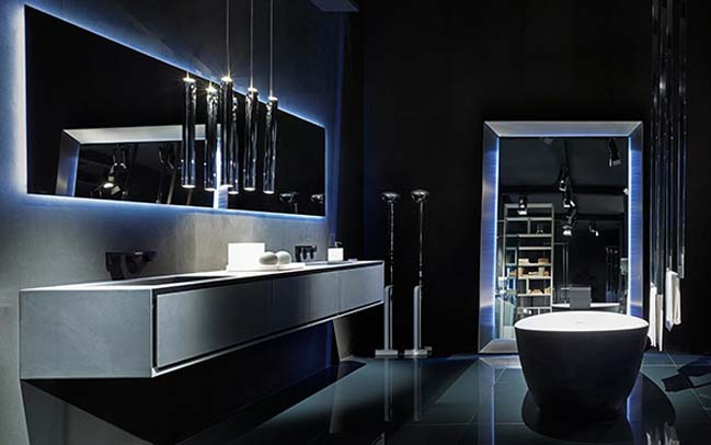 rifra luxury modern bathroom designs with light effect. Black Bedroom Furniture Sets. Home Design Ideas