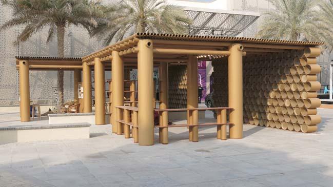 Amazing cardboard tubes architecture of Abu Dhabi Art Pavilion