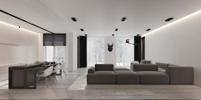 Black and white contemporary apartment in Azerbaijan