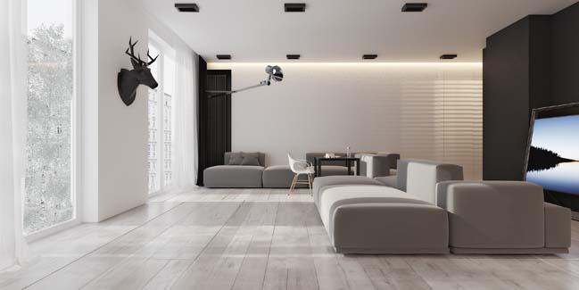 Black and white contemporary apartment in Azerbaijan