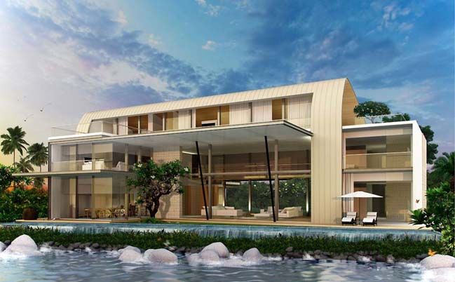 Luxury waterfront villa with unique wave roof structure
