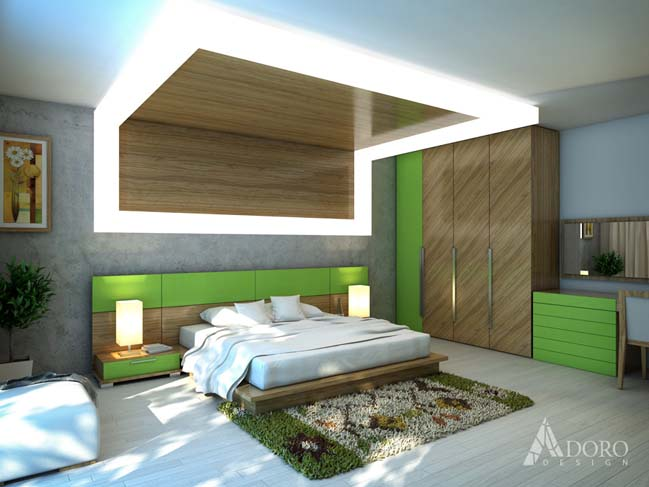 Master bedroom design by adoro design for Bedroom interior designs green