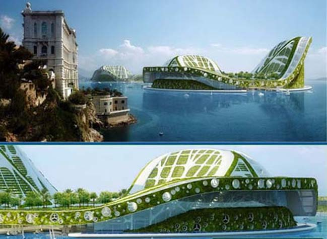 Futuristic architecture: Floating city for Climate Refugees