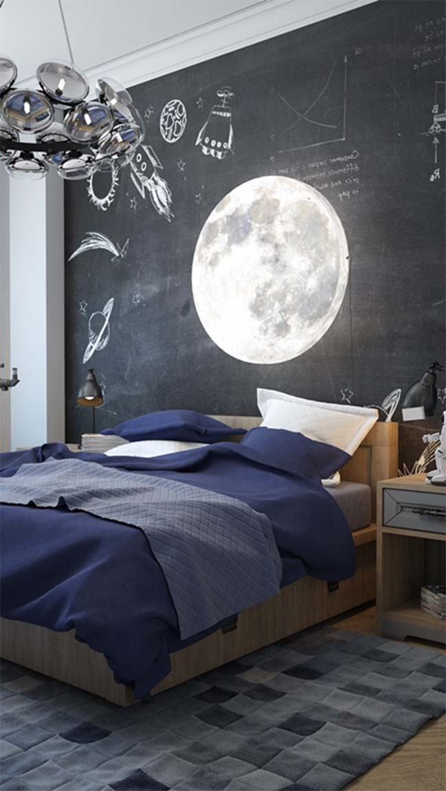 Bedroom design with cosmic theme