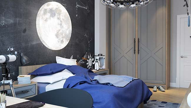 Bedroom design with cosmic theme