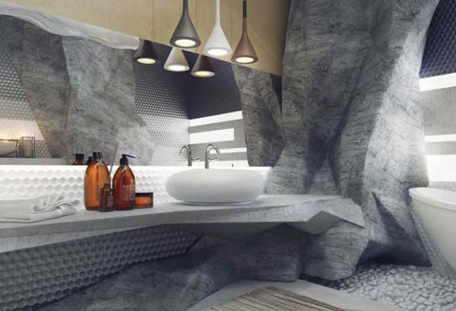 Bathroom Design Inspired By Rock Cave