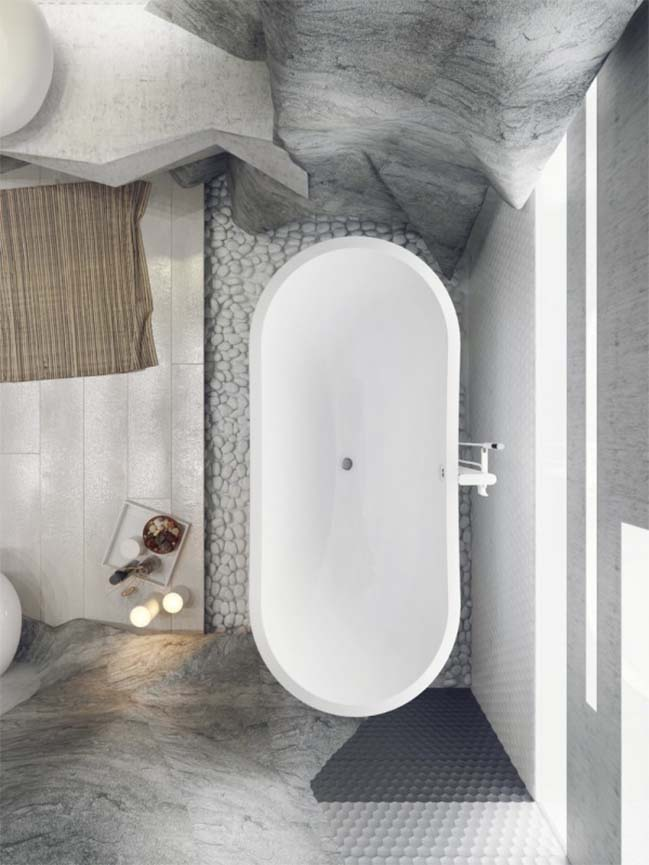 Luxury bathroom design inspired by rock cave