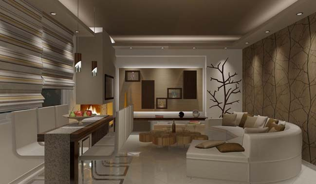with brown tones from wooden furniture to create a cozy living room