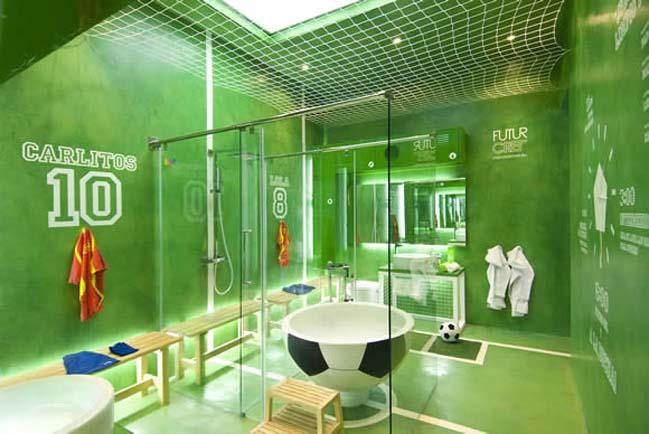 Bathroom design with football theme