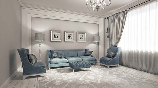 Elegant neoclassical living room design for Elegant living room ideas