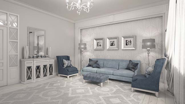 Elegant neoclassical living room design