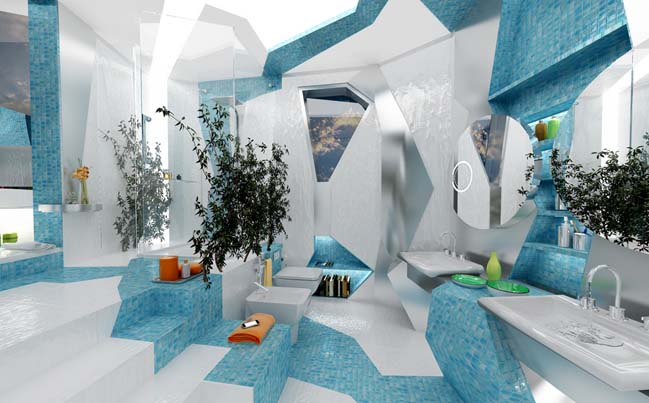 H2O in Geometry: Stunning bathroom design