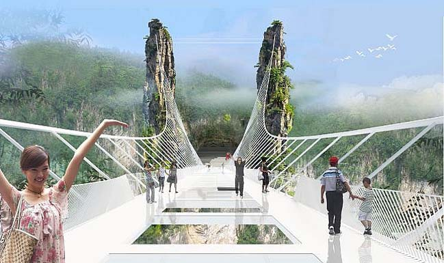 World's longest and highest glass-bottom bridge in China