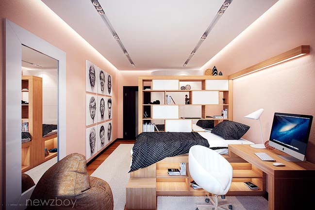 Cosy bedroom design for 2 girls