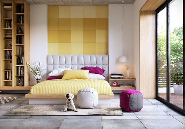 Modern bedroom design with yellow tone