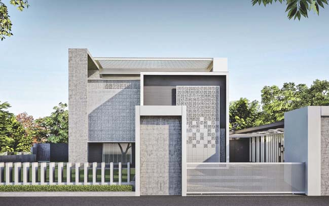 Villa Boundary Wall Design : Villa by apical refrom
