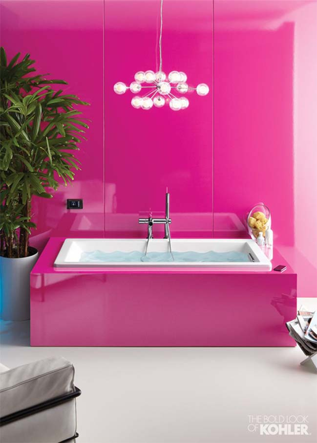 bright pink wall mounted bathroom vanity from regia