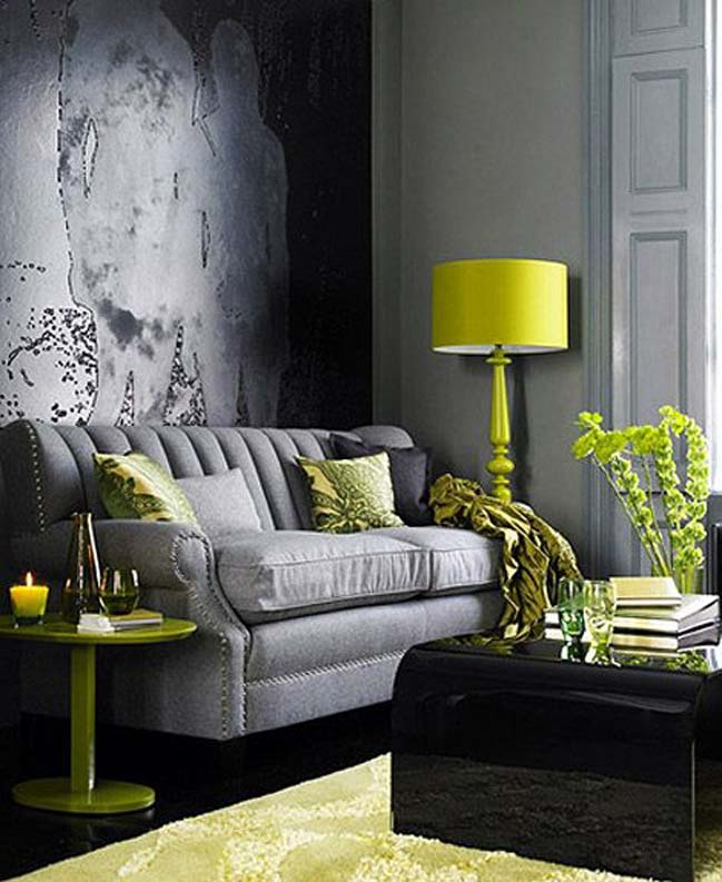 20 stunning grey and green living room ideas for Living room ideas white and grey