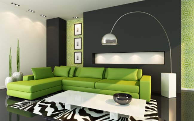 Contemporary Green Living Room Ideas Set