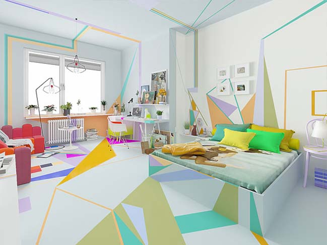 Lovely apartment with colorful painting