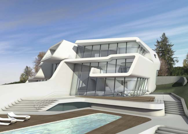 Futuristic house by zaha hadid architects for Villa concept construction vedene