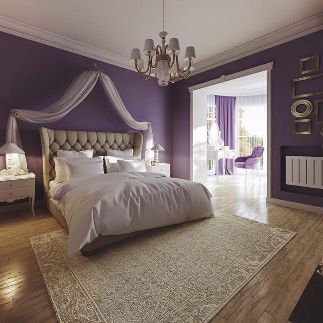 Purple bedroom design for girls by artem belousko for Beautiful room design for girl